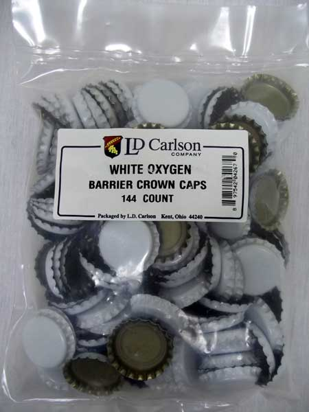 White Beer Bottle Caps (Crowns) - 144ct - with Oxy-Liner