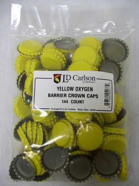 Yellow Beer Bottle Caps (Crowns) - 144ct - with Oxy-Liner