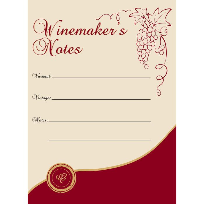 Winermakers Notes Wine Labels