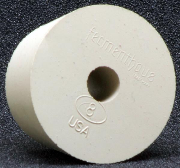 Size 8 Drilled Rubber Stopper 1-19/32 X 1-9/32