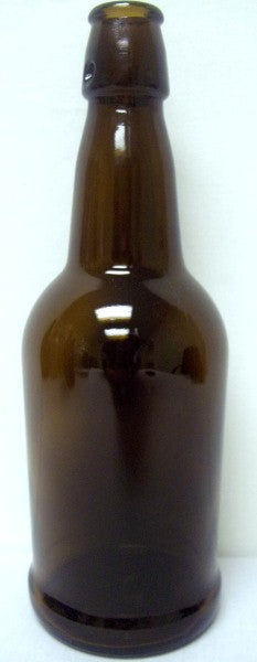 Amber EZ Cap Beer Bottles 16oz - 12 per Case - Caps Included