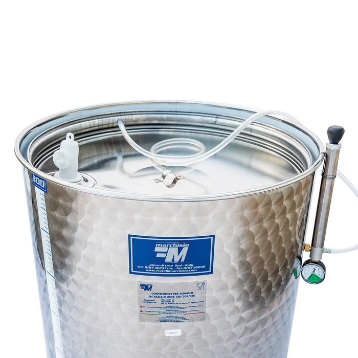 300 Liter Stainless Steel Variable Capacity Wine Tank with Floating Lid and 1.5 in. Tri-Clamp Valve by Marchisio