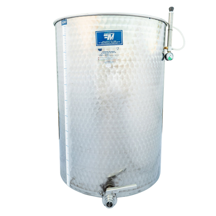500 Liter Stainless Steel Variable Capacity Wine Tank with Tri-Clamp Butterfly Valve and Floating Lid - Marchisio