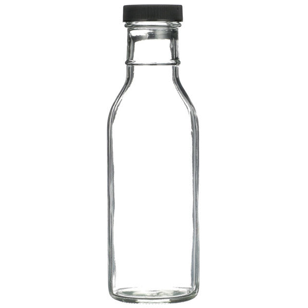 12 oz Clear BBQ Bottles with Caps - 12 per Case