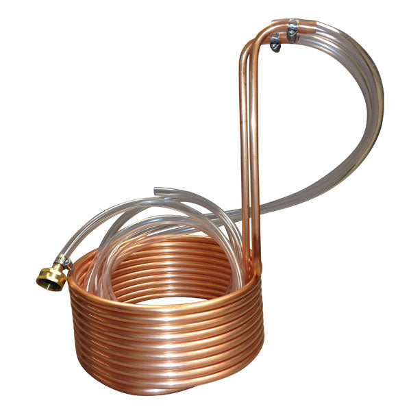 Immersion Wort Chiller - Copper with Hose Fittings - 25 ft.