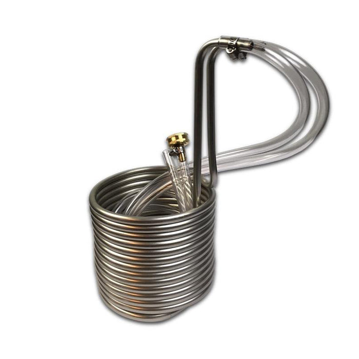Immersion Wort Chiller - Stainless Steel with Hose Fittings - 25 ft.