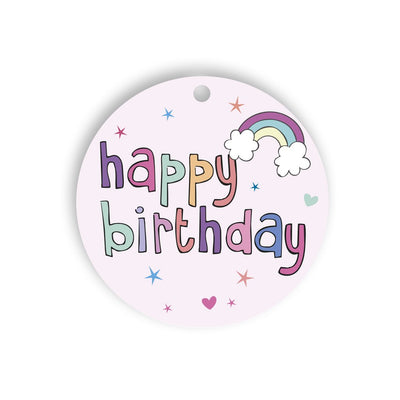 Birthday Pink Rainbow Gift tag