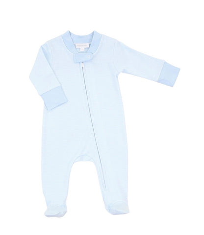 Magnolia Baby Essentials Mini Stripe Zip Footie-Blue