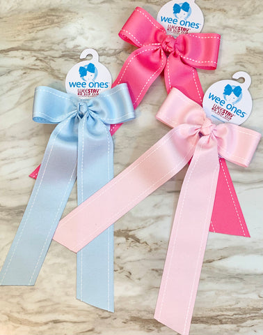 Wee Ones Stitched Edge Bow with Tails-Medium (Multiple Colors)