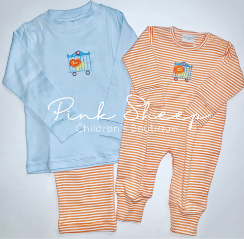 Squiggles by Charlie Orange Stripe Circus Lion Pant Set(12m & 18m arriving next shipment)