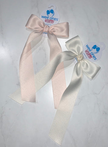 Wee Ones Matte Satin Bow with Tails-Medium