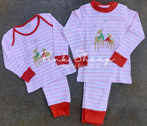 Squiggles by Charlie Wide Pink Stripe Winter Deer Lounge Set