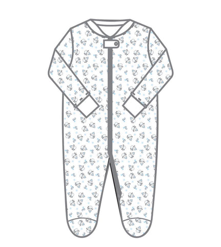 Magnolia Baby Tiny Snowman Printed ZIP Footie-BLUE