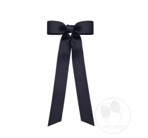Wee Ones Grosgrain Bow with Tails-Mini (Navy)