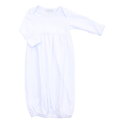 Magnolia Baby Essentials White Gathered Gown/Blue Trim