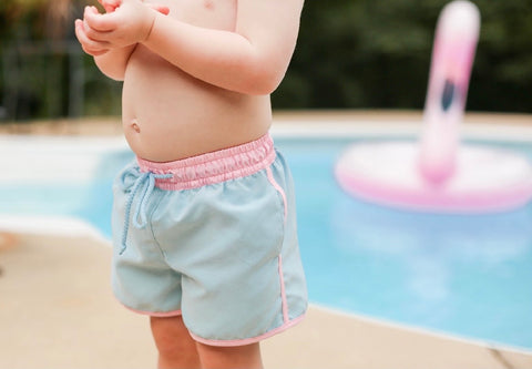 Grace & James Kids Swim Trunks-Pink and Blue