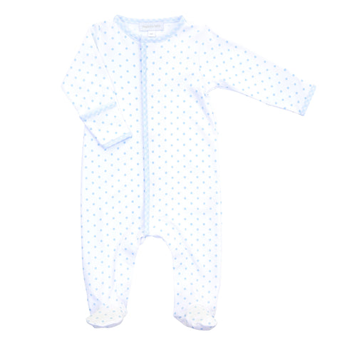 Magnolia Baby Essentials Blue Gingham Dots Snap Footie