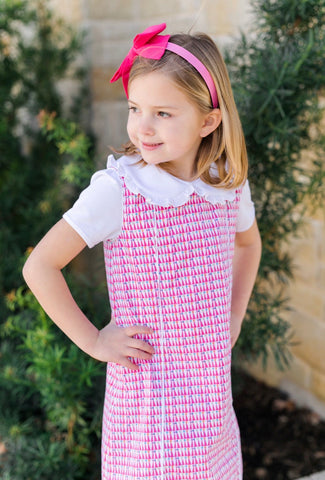 Lila & Hayes Pink Party Hat Jumper Dress Set-Woven