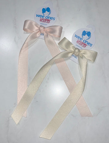 Wee Ones Matte Satin Bow with Tails-Mini