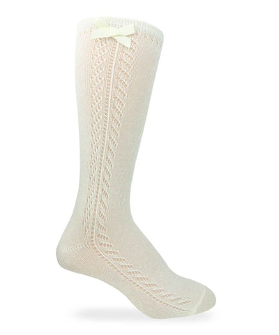 Jefferies Socks Pointelle Bow Knee High Socks (White, Ivory, Pink)