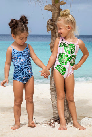 Shade Critters Pink Palm Sequin Swimsuit