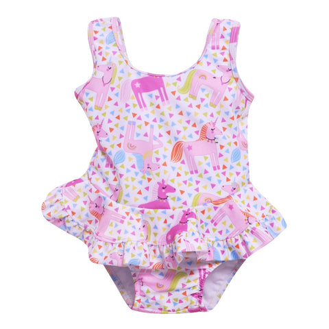 Flap Happy Unicorn Infant Swimsuit with Snaps UPF 50+ - 3m, 6m, 9m, 12m, 18m