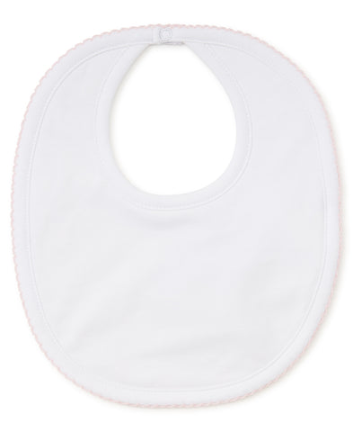 Kissy Kissy White with Pink Trim Bib