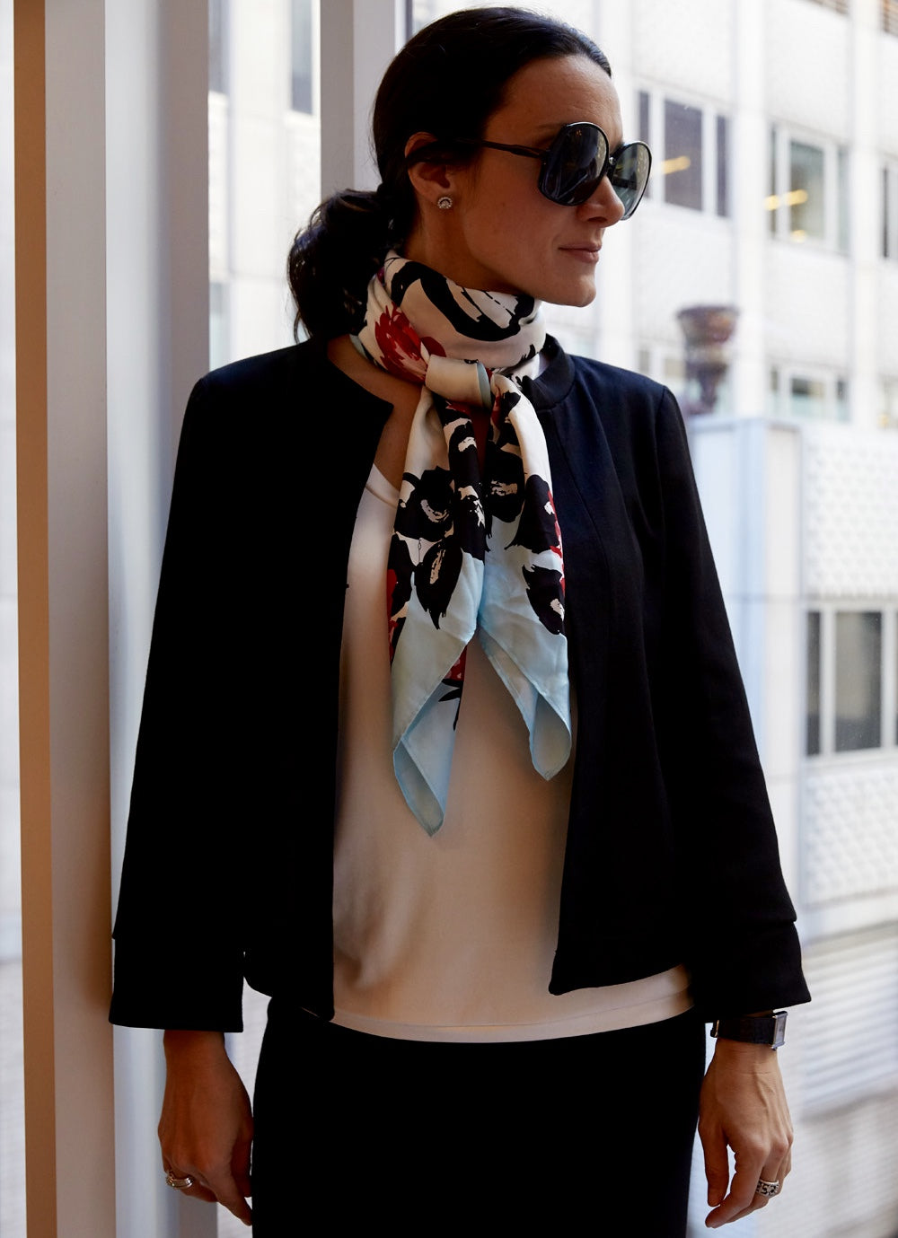 vintage silk scarf and suit for work