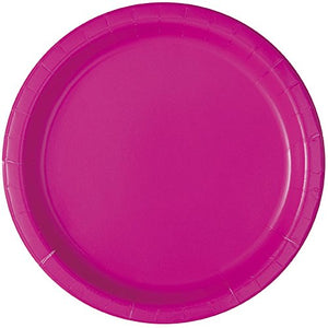 New Simple Solids Party Tableware Plate and Napkin Set Serves 16 (Neon Pink)