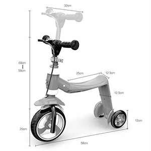 Children Scooter Flash Double Rear Wheel 1-2-3 Years Old Baby Slippery Artifact 3 Wheels Trike -Bearing 40kg