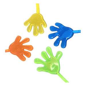24 Pack Sticky Hand Finger Toys - Party Favors, Fun Toys, Wacky Stretchy Glitter Sticky Hands, Sensory Toys for Kids, Birthday Party - 2 Dozen Assorted Color Sticky Hands