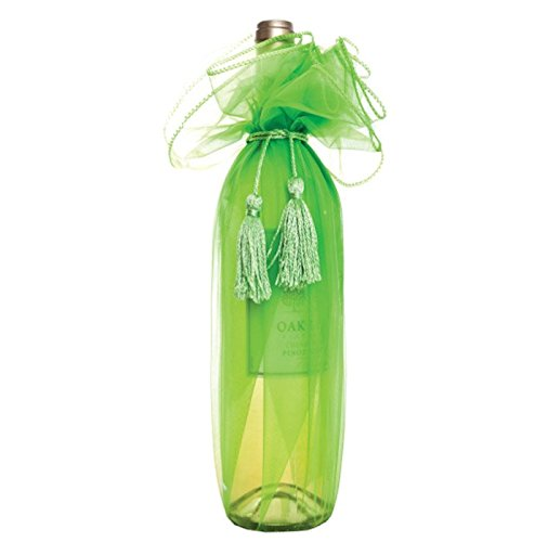 "Craft and Party, 28"" Organza Wine Bottle Wrap, 6 Pack. (Apple Green)"