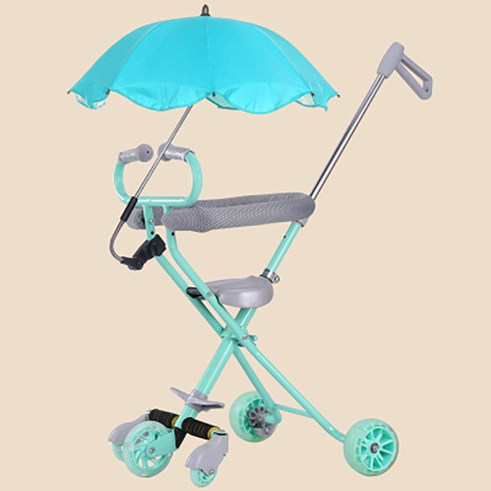 4916b511d70 Tricycle Children Foldable Slippery Baby Artifact Trolley With Umbrella Car  5 Wheel Anti-rollover Trike
