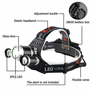 LED Headlamp Flashlight Kit, Portable Rechargeable Waterproof Adjustable Brightest Headlight, 10000-Lumen Head Light with 18650 Rechargeable Batteries for Hunting Fishing Camping Night-Work (3 Bulbs)
