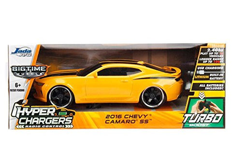 Jada Toys Hyperchargers Big Time Muscle 2016 Chevy Camaro SS RC/Radio Control Toy Car Vehicle, Yellow with Black Stripes, 1/16 Scale