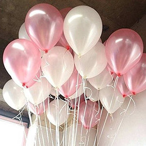 LAttLiv Balloons 100 Pack 12 Inches Pink Balloons White Balloons With Free Ribbon, -Pink/White