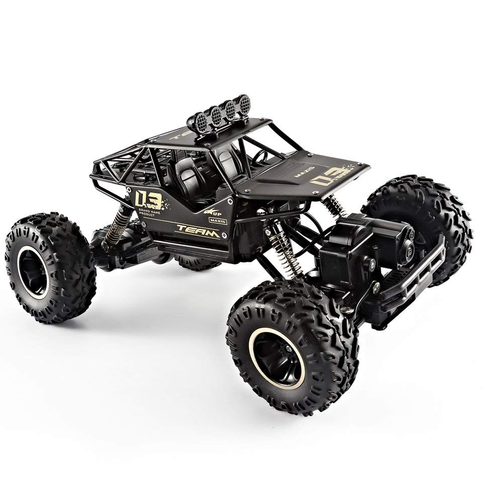XYCQ 6141 RC Two Battery 4WD 2.4Ghz 1/18 Crawlers Off Road Vehicle Toy Remote Control Car Alloy black Color