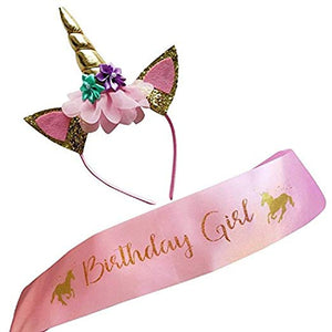Unicorn Headband and Satin Birthday Girl Sash Set Girls Gold Shiny Unicorn Headband Adults Pastel Flowers Birthday Party Decoration Cosplay Costume Halloween