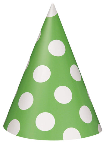 Lime Green Polka Dot Party Hats, 8ct