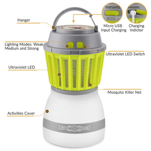 Texsens Bug Zapper & Camping Lantern-IP67 Rainproof 2-in-1 Zapper Lantern Charge Via USB Lightweight Camping Gear & Accessories for the Outdoors & Emergencies (Green)