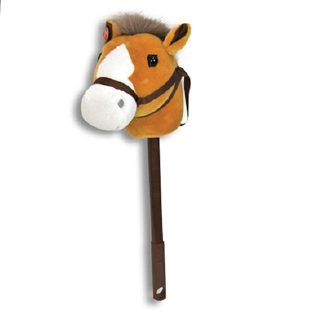 Linzy Hobby Horse, Stick Horse Tan with Galloping Sounds and a Telescopic Stick 40 Inch