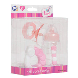 JC Toys JC Toys 3-Piece PINK Accessory Gift Set includes Bottle, Pacifier, and Rattle Fits Most Dolls - Ages 2+ - Designed by Berenguer Boutique Baby Doll, Pink