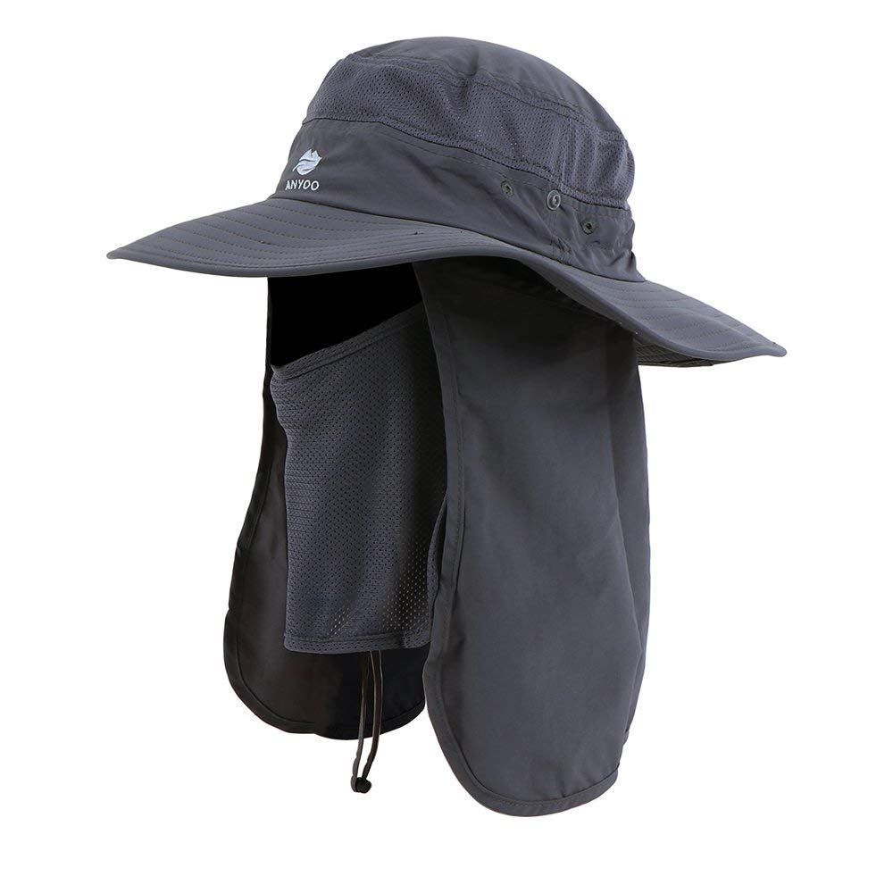 Anyoo Outdoor Neck Face Flap Hat UV Protection Wide Brim Cap Fishing Hunting Boating Hiking for Men and Women