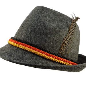 Grey Felt Alpine Oktoberfest German Bavarian Costume Hat w/ Feather