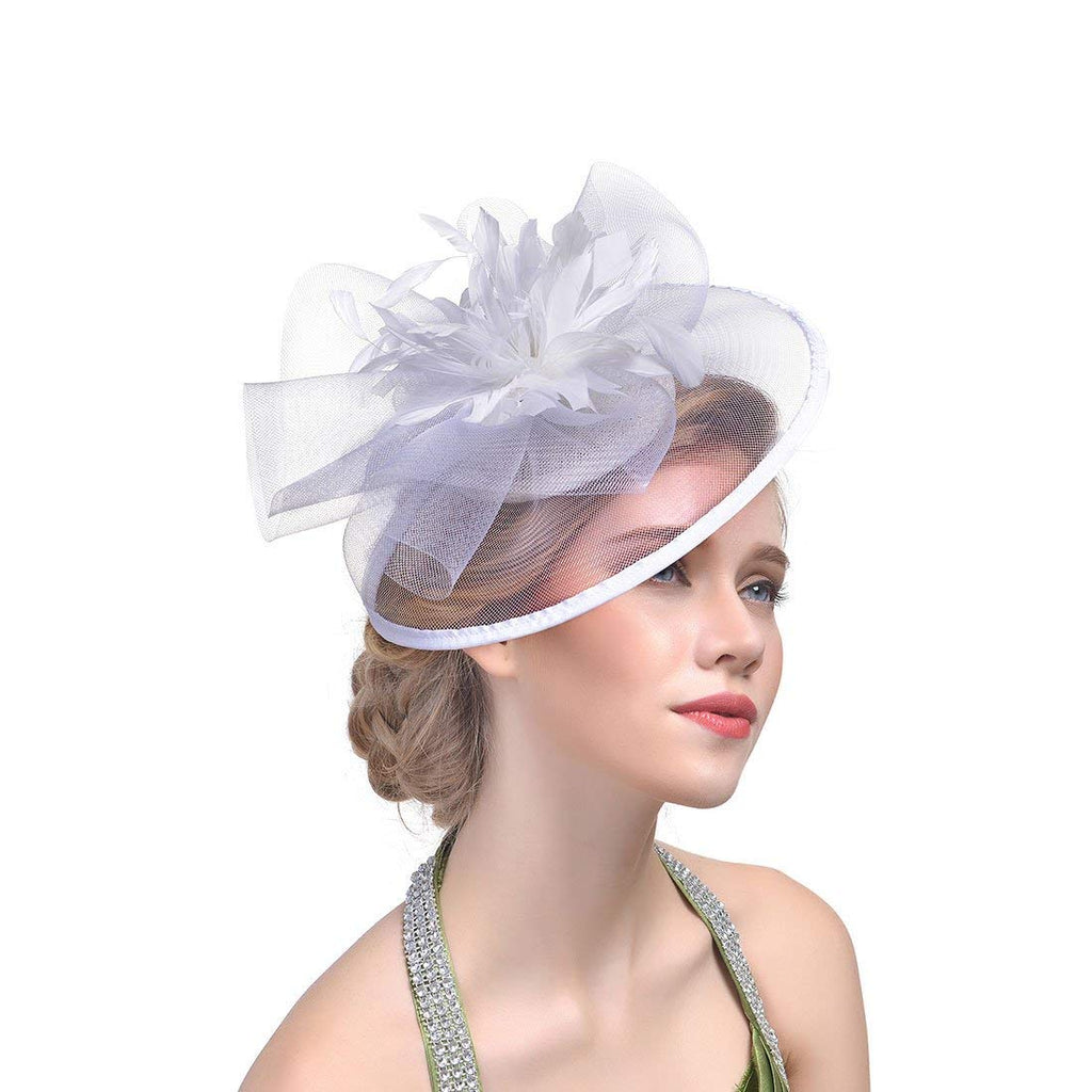 Wcysin Cocktail Tea Party Head Wear Big Fascinators Top Hat for Girls and Women (White)