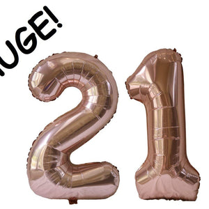Rose Gold 21st Birthday Party Decoration Pack! - Big Happy Birthday, 21 and Star Balloons - 24 Latex Balloons