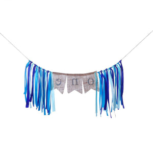 Hbtop Baby 1st Birthday ONE Tassel Banner with Birthday Hat Highchair Wall Hanging Bunting for Baby Shower Party Supplies Decorations (Blue)
