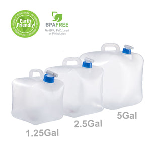 90 Points 1.25 Gallon/5L 2.5 Gallon/10L 5 Gallon/20L Collapsible BPA Free PE Water Container Portable Water Carrier Bag Water Outdoor Storage for BBQ Camping Hiking Climbing Picnic Emergencies