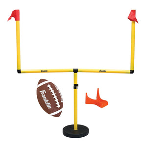 Franklin Sports Youth Football Adjustable Goal Post Set - Includes Football And Kicking Tee