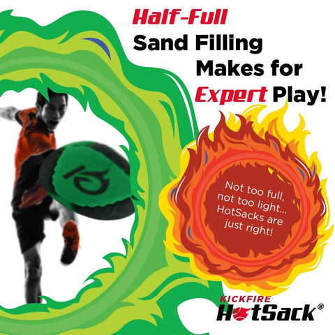 KickFire HotSacks Hacky Sack Sand Filled 8 Panel Leather Footbag | BONUS video quick start tips | Best for Kids, Teens & Adults
